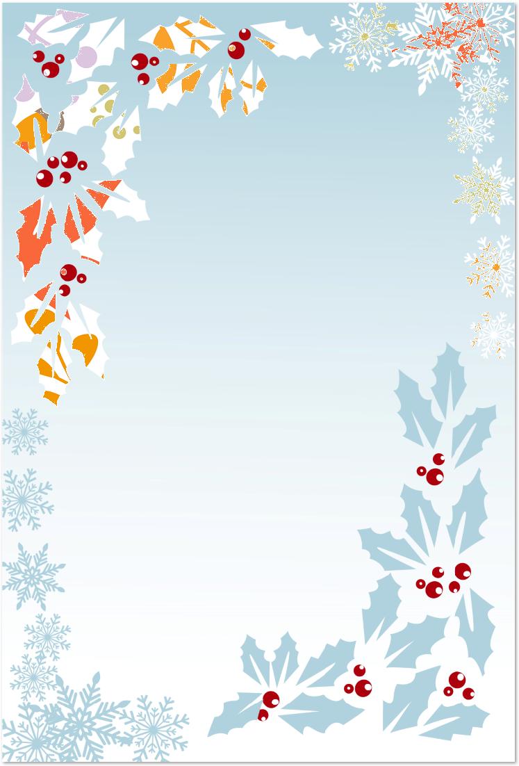 12月のクリスマス&ヒイラギのメッセージカードを無料でダウンロード