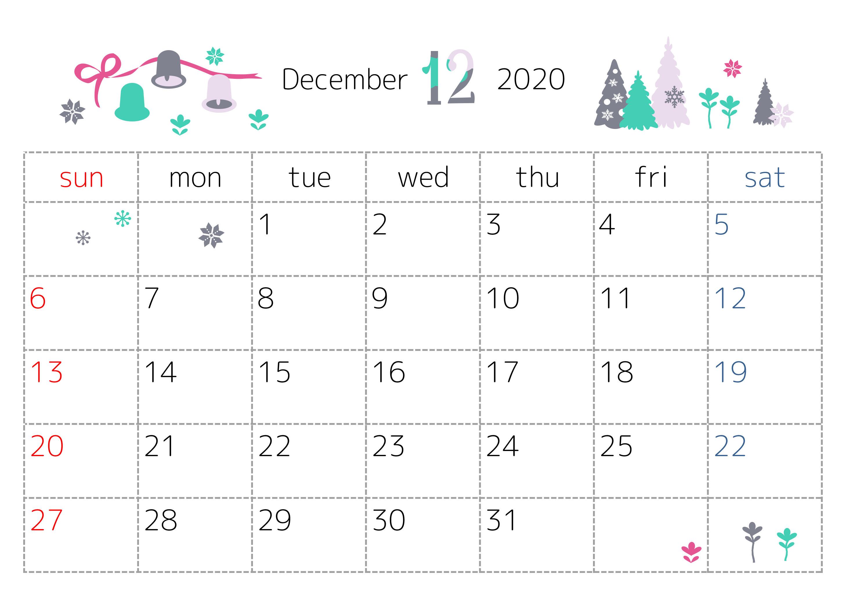 「修正済み」2020年12月横型のベル・ツリーイラスト無料カレンダー