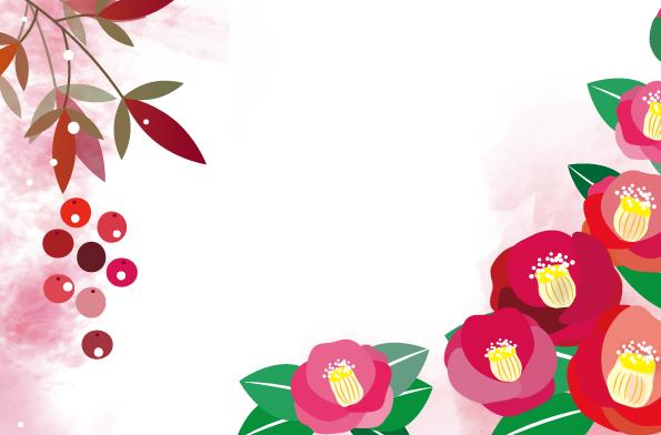 冬の1月イメージで描いた椿の花の無料イラストのフレーム素材