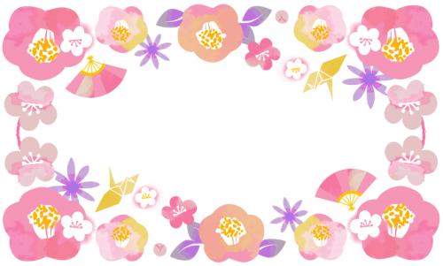 冬の花は1月の花・梅・椿を描いた無料イラストの和風フレーム素材