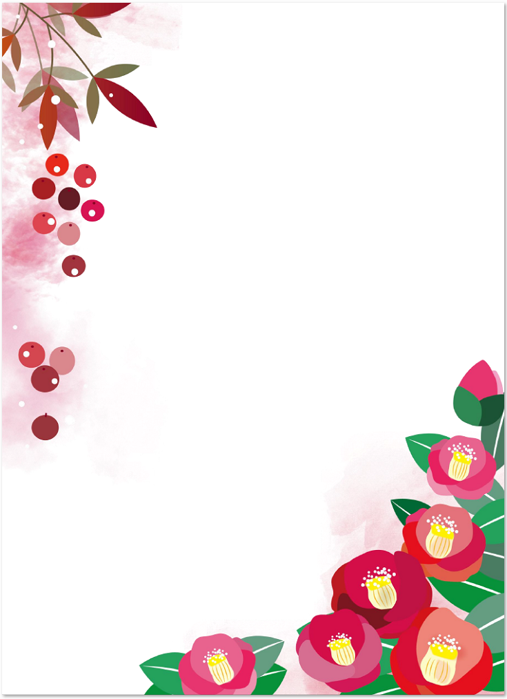 冬の1月イメージで描いた椿の花の無料イラストのフレーム素材 無料ダウンロード テンプレルン