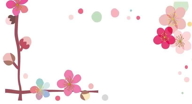 2月の飾り枠・梅の花がデザインされた縦型の無料イラストのフレーム素材