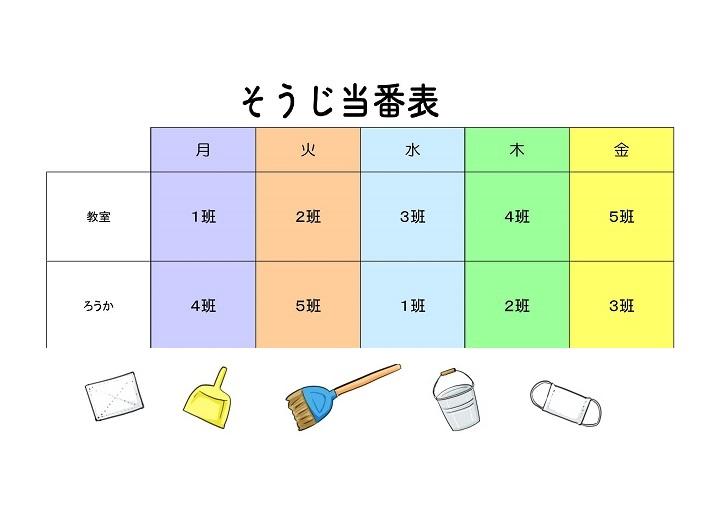 【かわいい】小学校・保育園!イラストの掃除当番表テンプレート素材