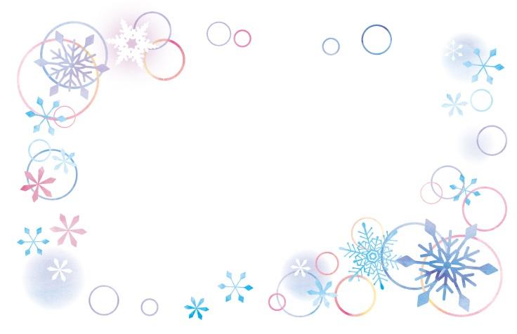 【寒中見舞い】冬の2月をイメージした雪の結晶イラストフレーム素材
