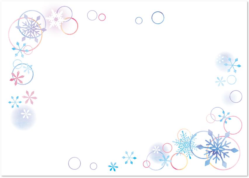 雪の結晶フレーム素材を無料でダウンロード