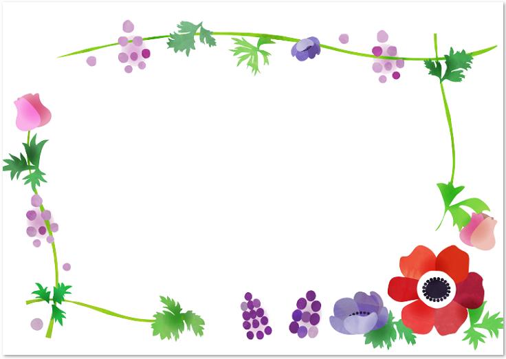 3月.4月の春デザイン・アネモネの花のフレームをダウンロード