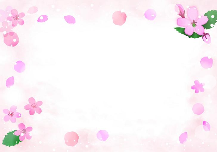 春3.4月のかわいいデザイン「横型」桜の花の無料イラストフレーム素材
