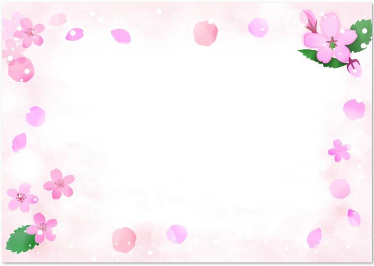 かわいいデザインの桜の花のイラストフレーム素材をダウンロード