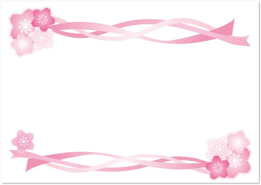 4月イメージの桜&リボンのラインフレーム素材