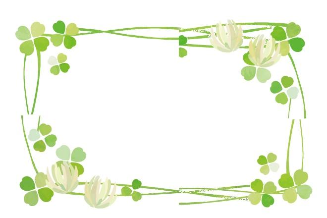 春の5月・幸運の四つ葉のクローバーや三つ葉のフレーム無料イラスト素材