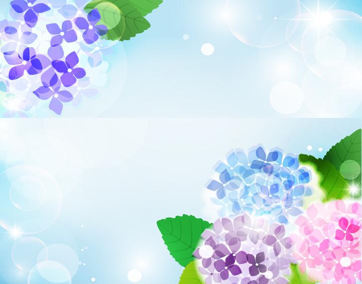 梅雨・6月の紫陽花の花の飾り枠「縦型」イラスト無料フレームのテンプレート素材