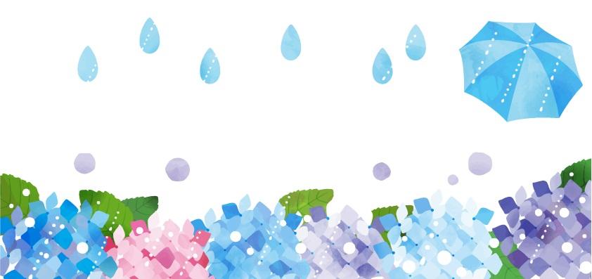 6月の雨・傘と紫陽花の花の無料イラストの梅雨フレーム素材