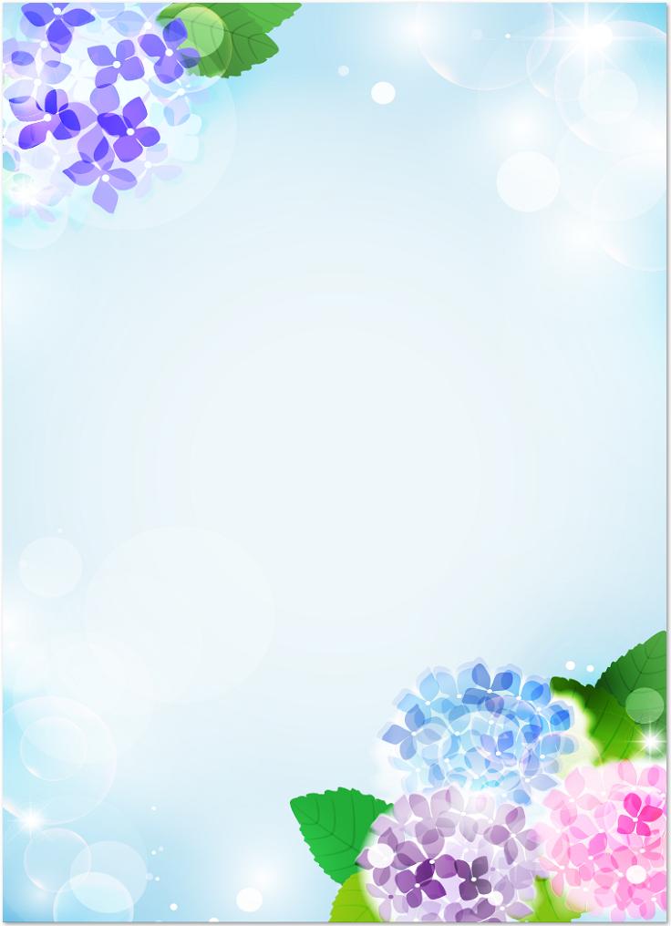 梅雨 6月の紫陽花の花の飾り枠 縦型 イラスト無料フレームのテンプレート素材 無料ダウンロード テンプレルン