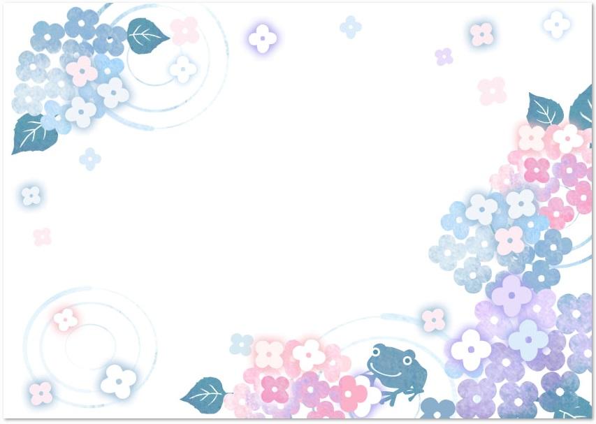 梅雨の時期6月の花「あじさい」フレーム