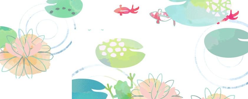 水彩&手書き風・7月の花「水連・ハス」のjpg・pdf・透過pngフレーム