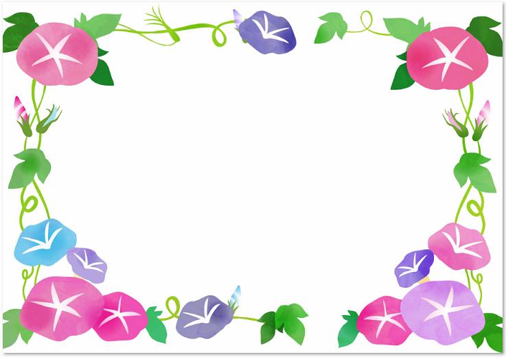 かわいい 7月の無料イラスト夏の 朝顔の花 のフレーム素材 無料ダウンロード テンプレルン