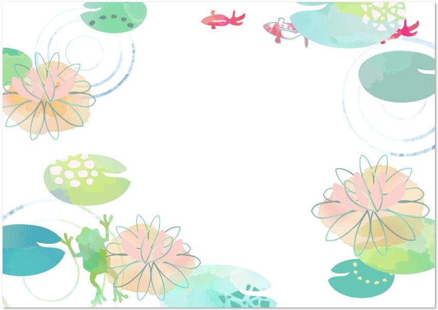 水彩&手書き風・7月の花「水連・ハス」をダウンロード