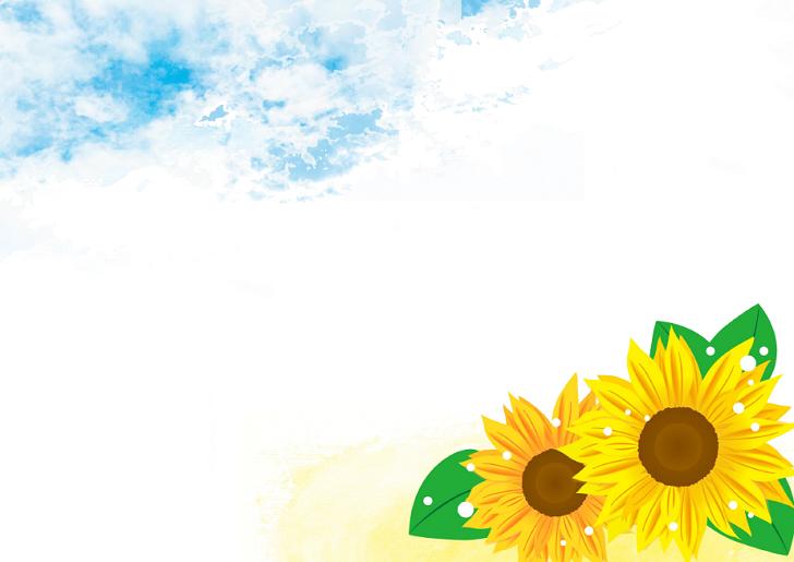 暑い夏!8月の青空と大きなひまわりの花のイラストフレーム素材