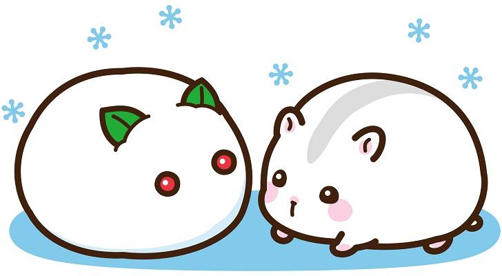 【かわいい】子年の年賀状素材に!ジャンガリアンハムスターと雪だるま無料イラスト