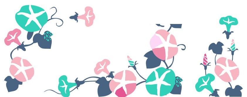 8月の夏の花・つるの朝顔の無料イラスト背景フレーム素材
