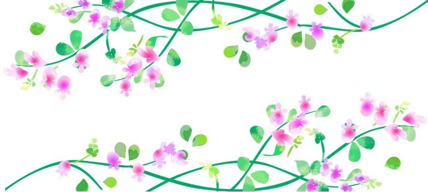 9月季節の秋の花「萩の花・ハギ」の無料イラストフレーム横型素材
