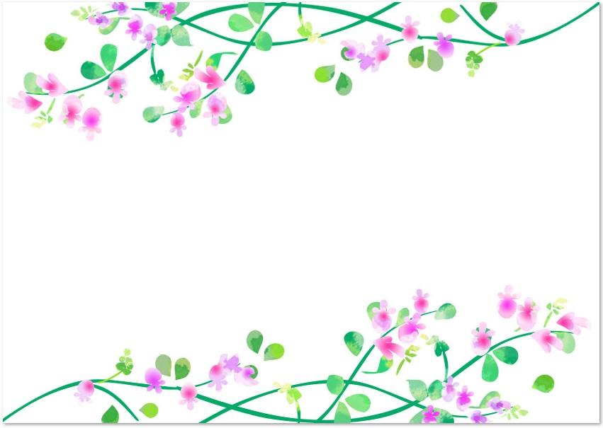 9月季節の秋の花 萩の花 ハギ の無料イラストフレーム横型素材 無料ダウンロード テンプレルン