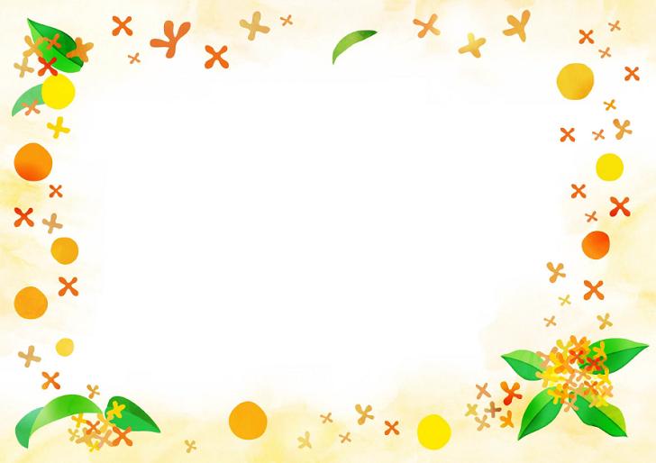 10月(秋)の無料イラスト金木犀の花の手書き風のフレーム素材