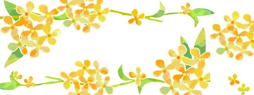 10月の花「金木犀の花」をイラストで描いた無料のフレーム素材