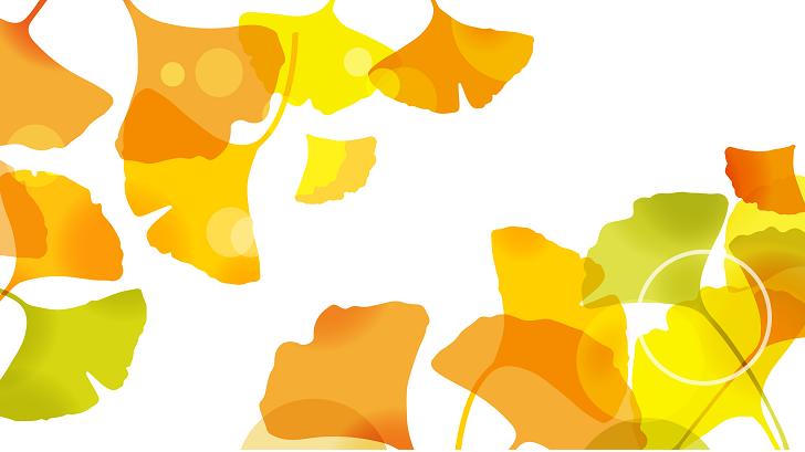 11月秋の紅葉&イチョウ(銀杏)の葉っぱの無料イラストフレーム素材