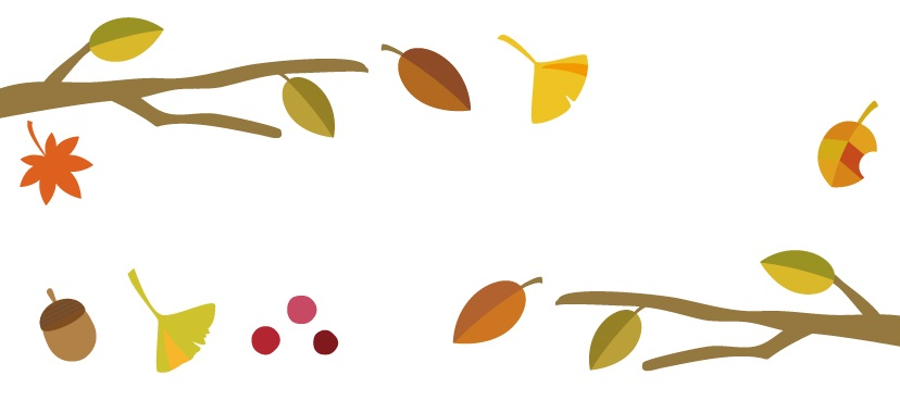 11月の秋の紅葉した葉っぱで作った無料のイラストフレーム素材
