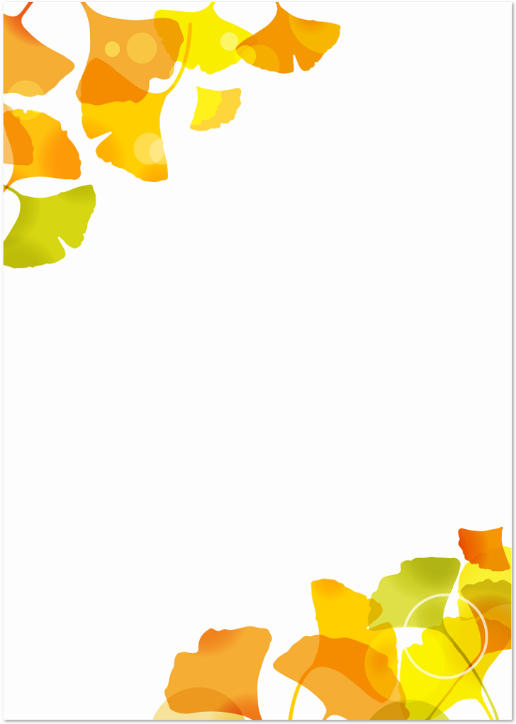 11月秋の紅葉 イチョウ 銀杏 の葉っぱの無料イラストフレーム素材 無料ダウンロード テンプレルン