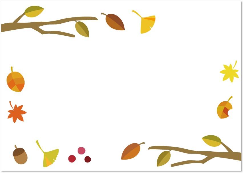 11月の秋の紅葉した葉っぱフレームをダウンロード