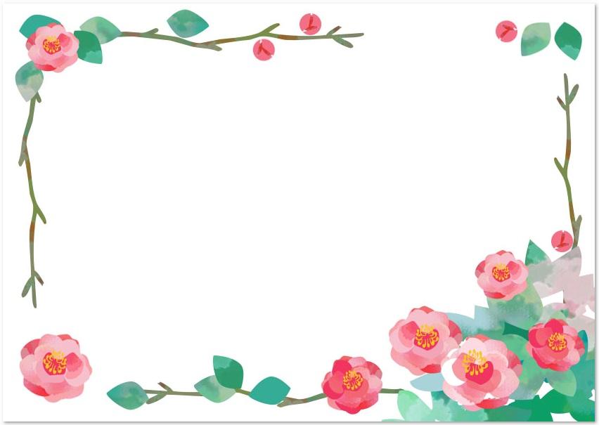 11月冬の花「山茶花」のイラストフレームをダウンロード