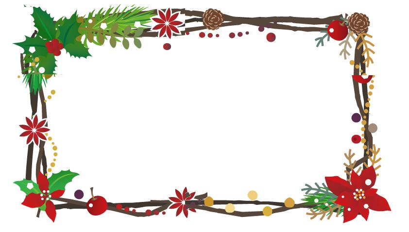 12月冬のポインセチアの花と枠を柊の葉っぱや松ぼっくりで飾ったフレーム素材