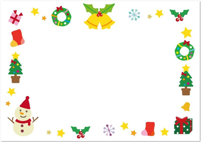 12月冬クリスマスアイテムの無料イラスト飾り枠 フレーム素材 無料ダウンロード テンプレルン