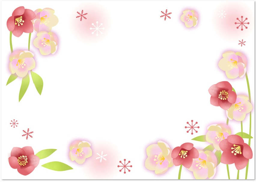 12月の冬の花 クリスマスローズ を描いたイラスト無料フレーム素材 無料ダウンロード テンプレルン