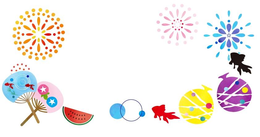 8月の花火・お祭り・金魚の無料イラストフレーム素材