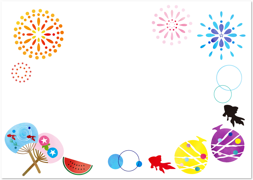 8月の花火 お祭り 金魚の無料イラストフレーム素材 無料ダウンロード テンプレルン