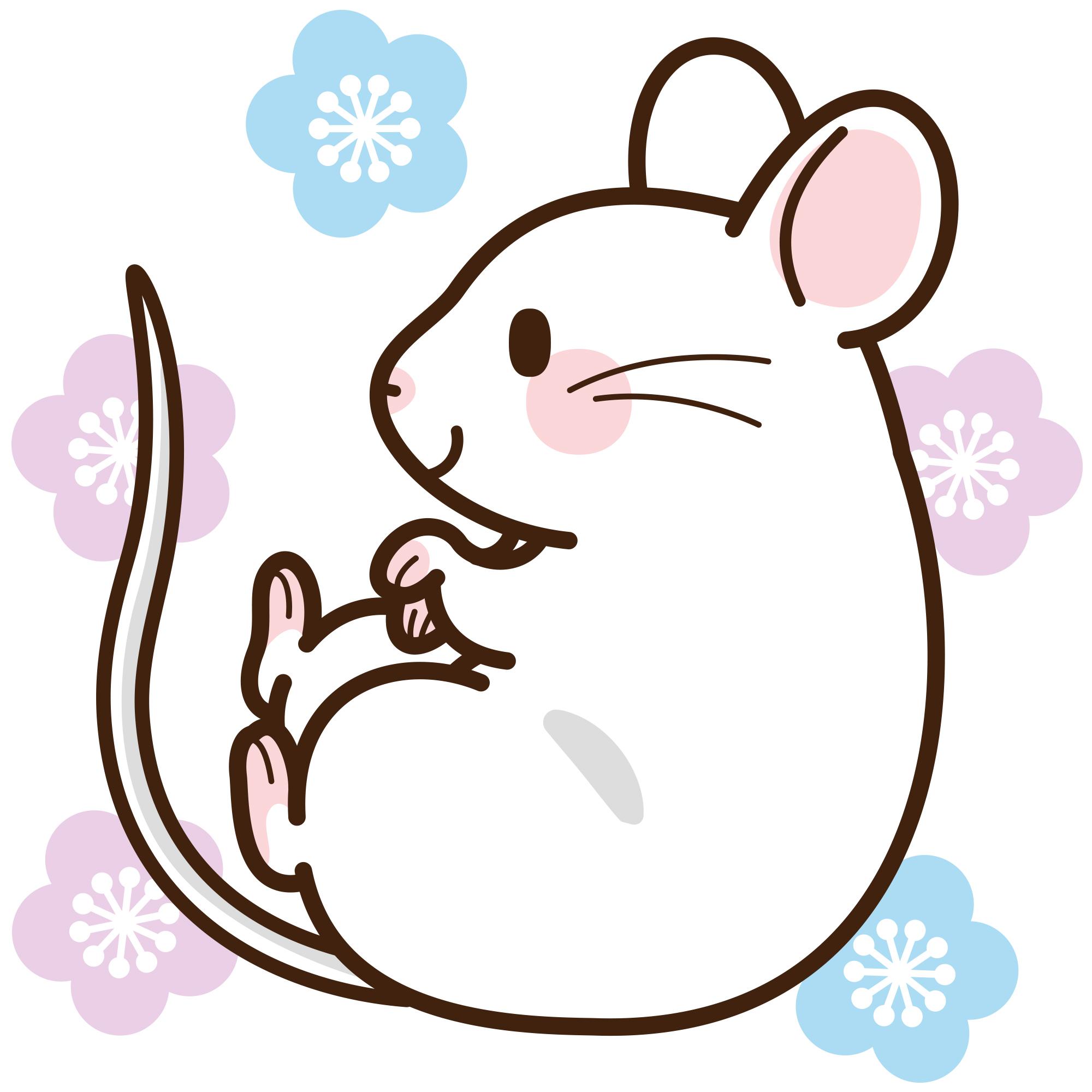 白いネズミの無料イラストをダウンロード