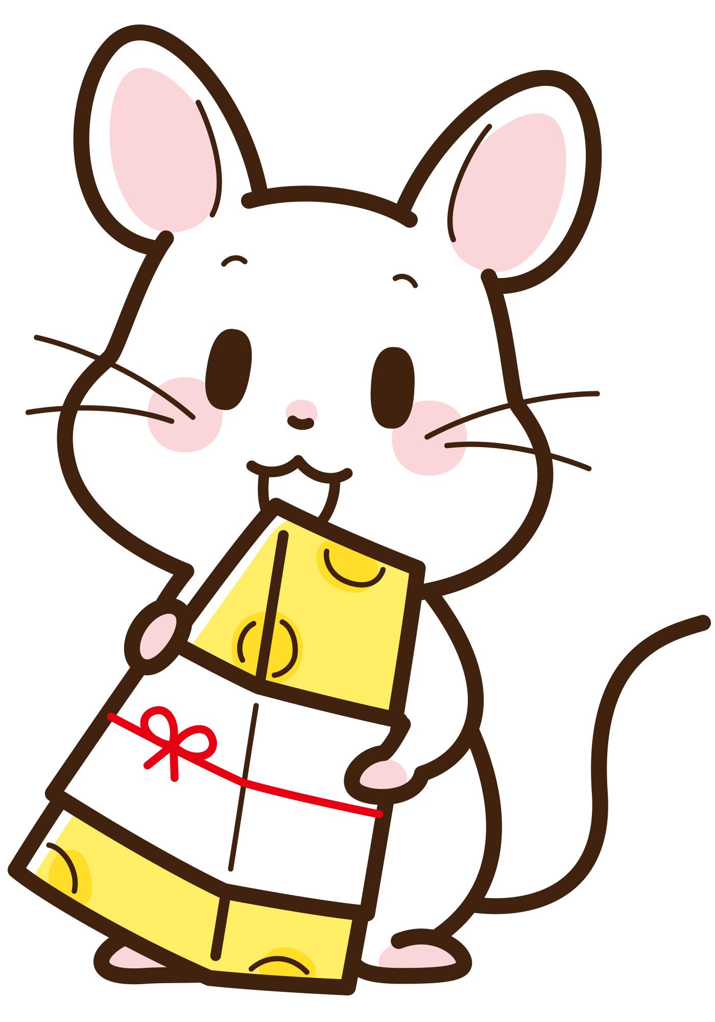 チーズを持っている白ネズミのイラストをダウンロード