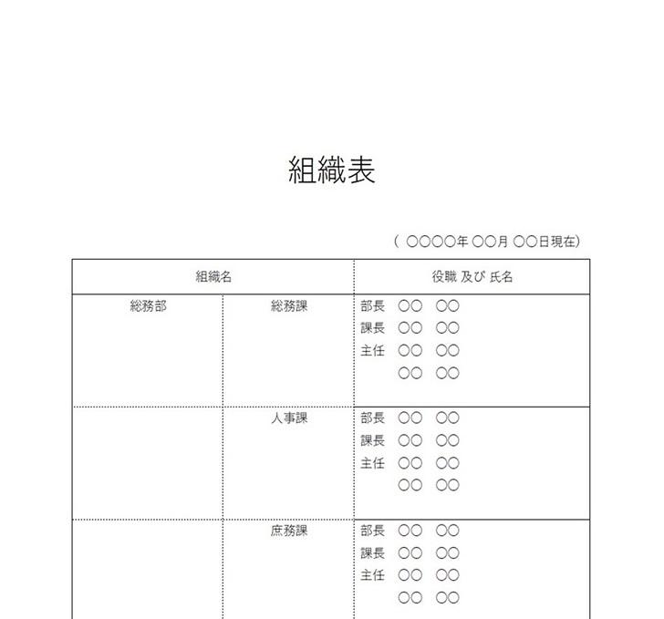 シンプルな一覧表時の組織表(組織図)縦型の無料テンプレート素材