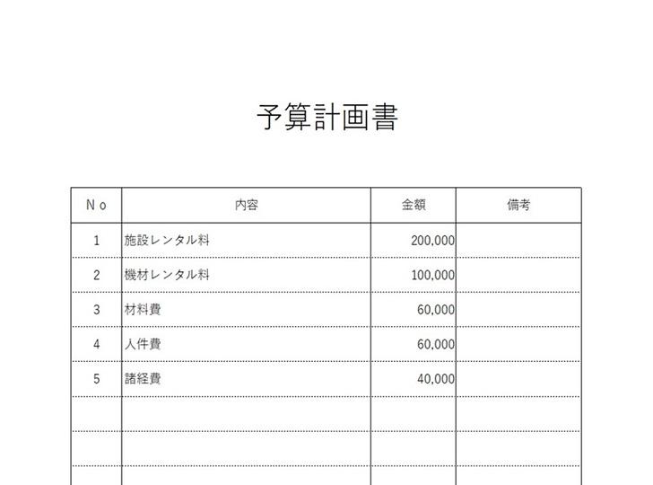 縦型のシンプルな予算報告書の無料テンプレート素材