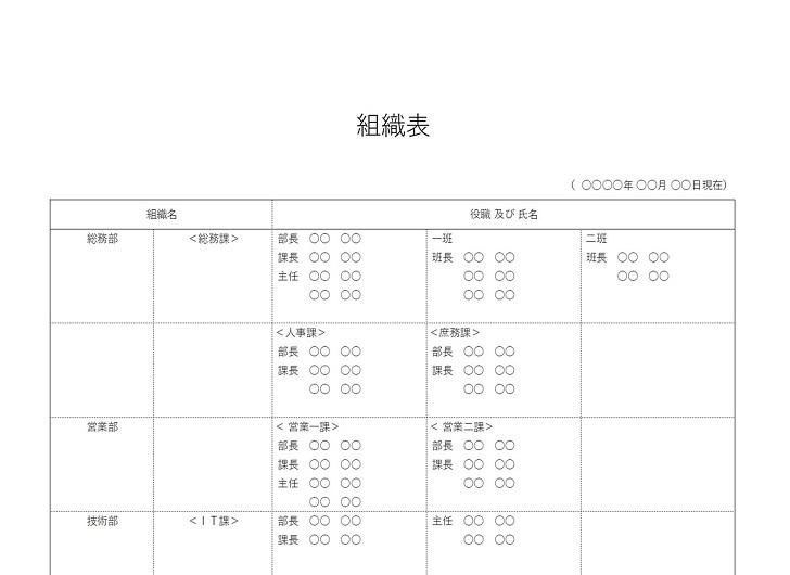 横型の組織表(エクセル&ワード)作成が簡単な無料テンプレート素材