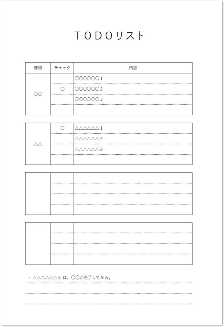 種類・担当別にTODOの簡単な記入例と例文