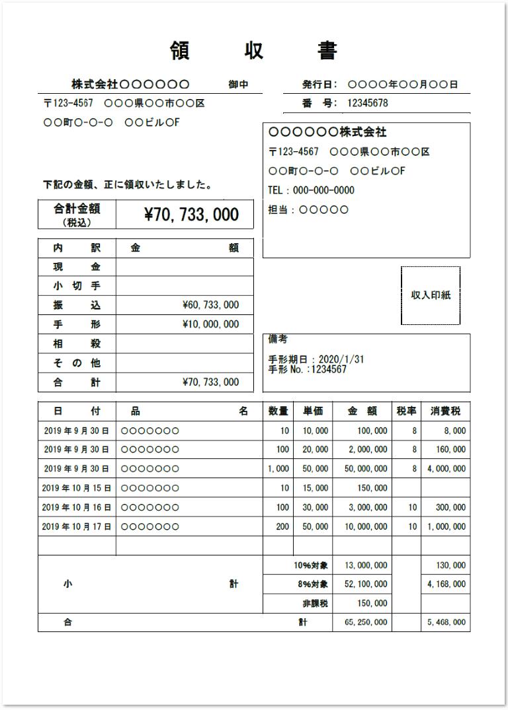 消費税の軽減税率・複数税率対応の領収書の書き方と見本