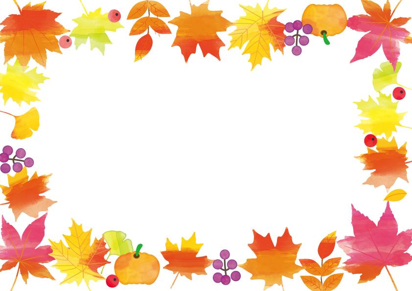 10月秋の「紅葉」メッセージカード・フレーム素材のテンプレート