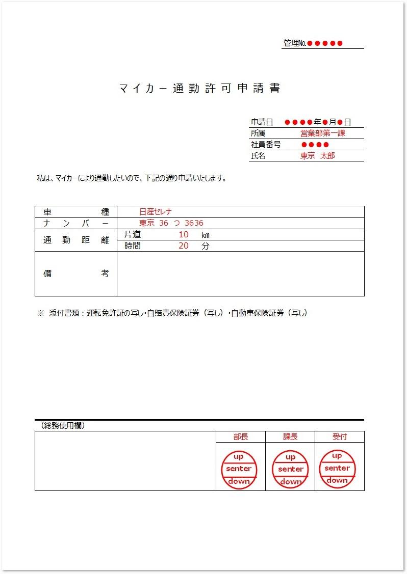通勤許可申請書の簡単な書き方と記入例