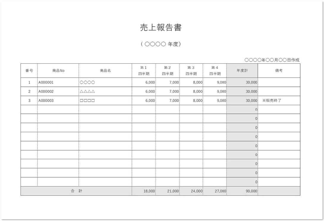 横様式の商品別の売上報告書をダウンロード