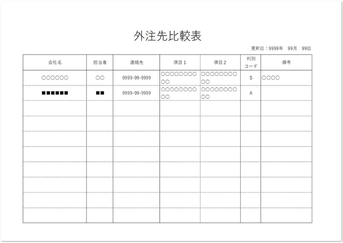 外注先比較表の記入例とサンプル