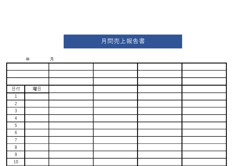 会議資料の提出時に!書き方が簡単シンプルな月次売上報告書の無料テンプレート